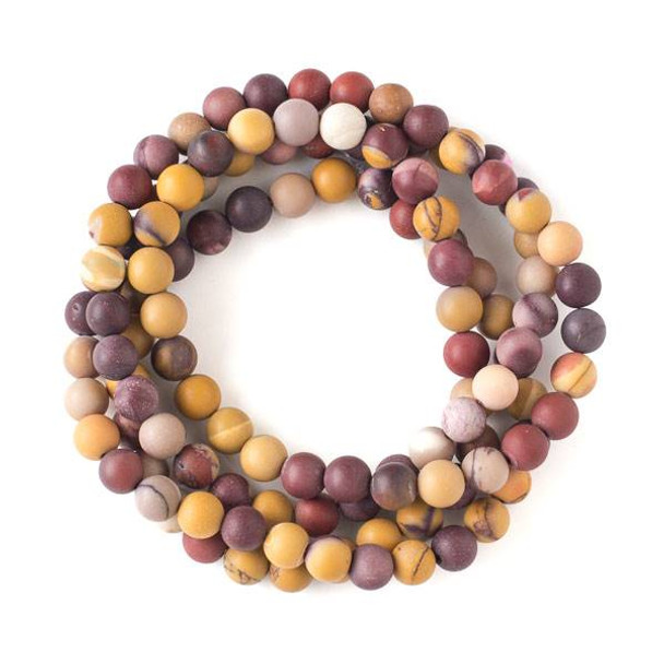 Matte Mookaite 8mm Mala Round Beads - 36 inch strand