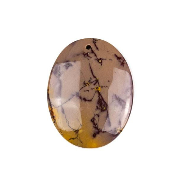 Mookaite 35x45mm Top Front to Back Drilled Oval Pendant with a Flat Back - 1 per bag
