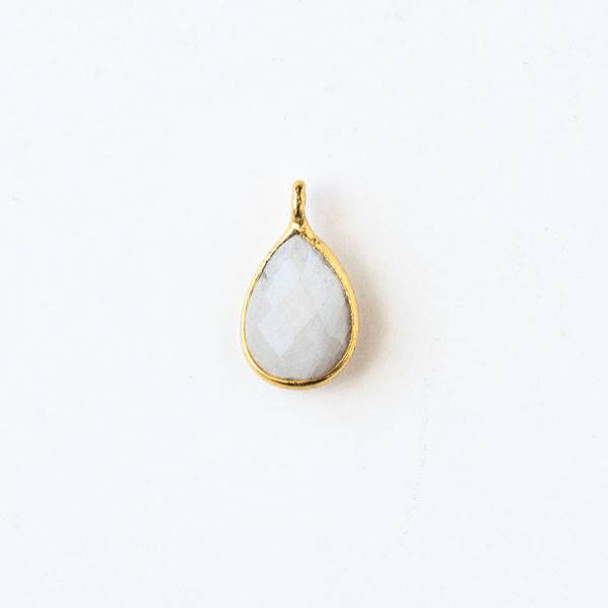 Moonstone approximately 8x14mm Teardrop Drop with a Gold Plated Brass Bezel