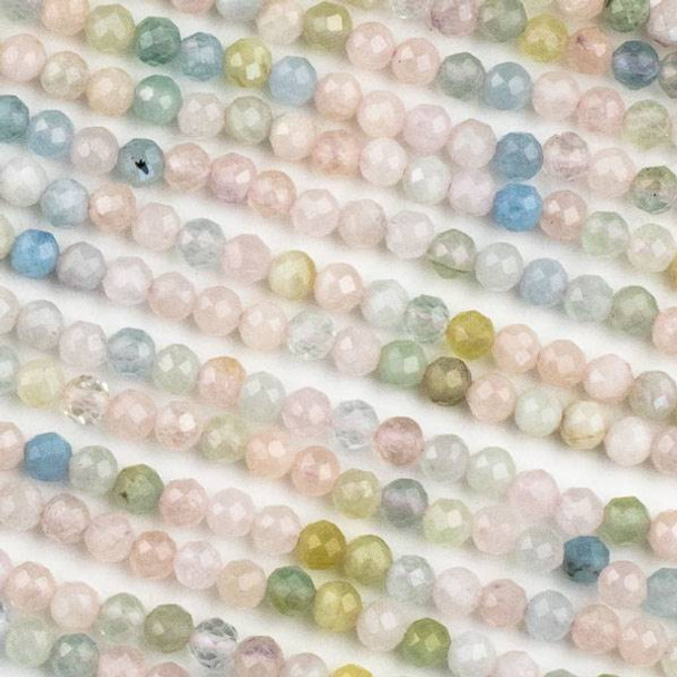 Morganite 4mm Faceted Round Beads - 15 inch strand