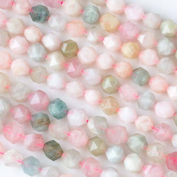 Morganite 8mm Simple Faceted Star Cut Beads - 16 inch strand