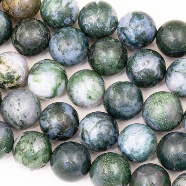 Moss Agate (Natural Gemstone) 18mm Round Beads - 15 inch strand