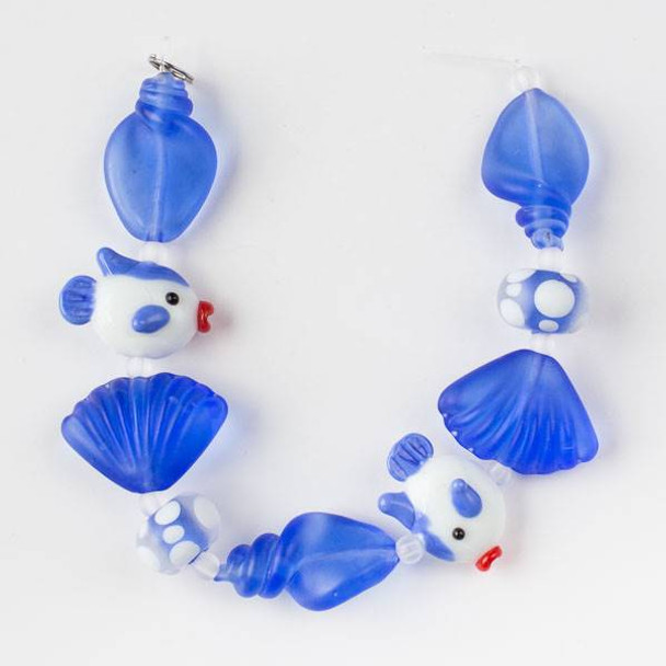 Handmade Lampwork Glass Beach Collection - Blue and White Fish with Matte Blue Shells and Rondelles