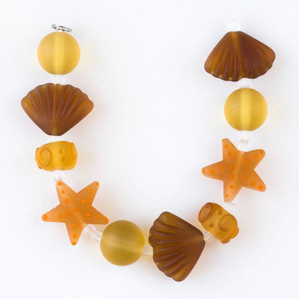 Handmade Lampwork Glass Beach Collection -  Matte Topaz Starfish, Shell, and Rondelle Mix