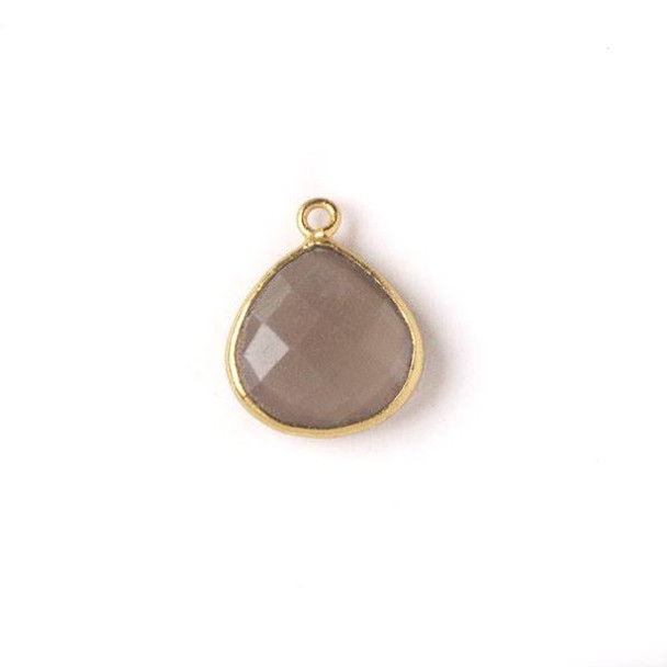 Mystic Swiss Chocolate Moonstone approximately 13x17mm Almond Drop with a Gold Plated Brass Bezel