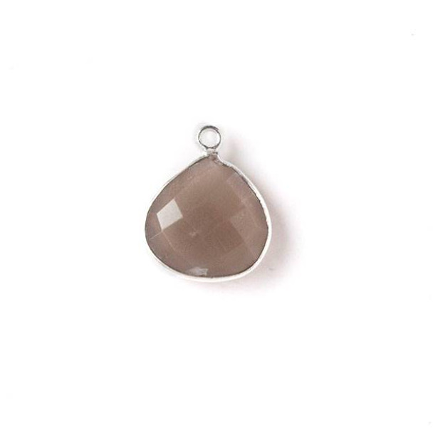 Mystic Swiss Chocolate Moonstone approximately 13x17mm Almond Drop with a Silver Plated Brass Bezel