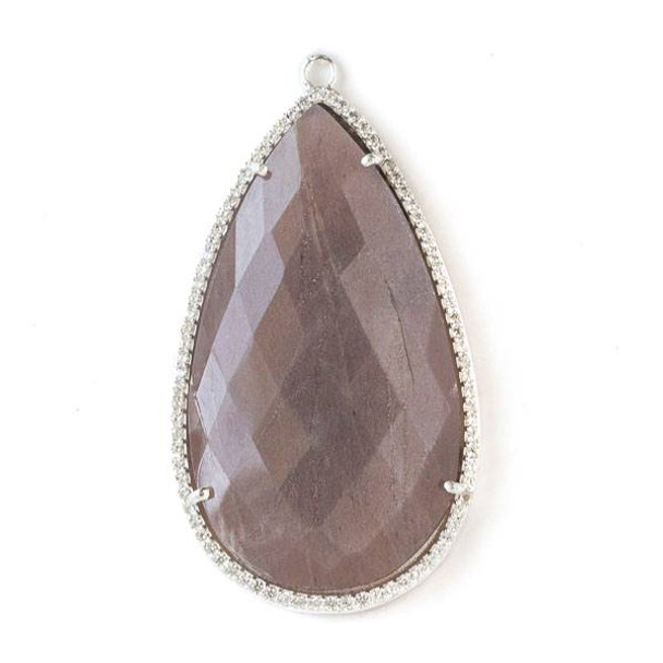 Mystic Swiss Chocolate Moonstone approximately 28x52mm Faceted Teardrop Pendant with Silver Plated Brass Bezel and Cubic Zirconias - 1 per bag