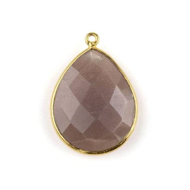 Mystic Chocolate Moonstone approximately 19x27mm Teardrop Drop with a Gold Plated Brass Bezel - 1 per bag
