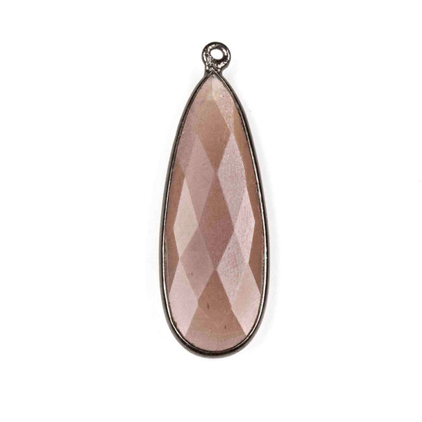 Mystic Swiss Chocolate Moonstone approximately 11x34mm Long Teardrop Drop with a Gun Metal Plated Brass Bezel - 1 per bag