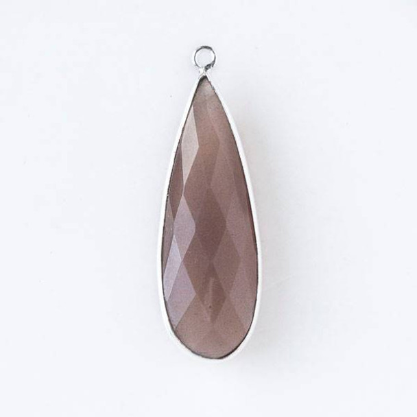 Mystic Swiss Chocolate Moonstone approximately 11x34mm Long Teardrop Drop with a Silver Plated Brass Bezel - 1 per bag