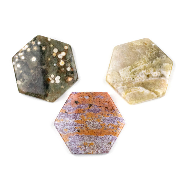 Ocean Jasper 40x45mm Top Drilled Hexagon Pendant - 1 per bag
