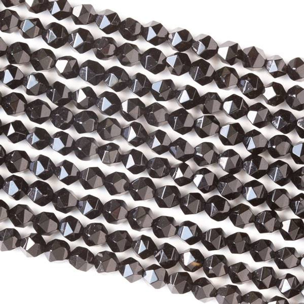 Onyx 6mm Simple Faceted Star Cut Beads - 16 inch strand
