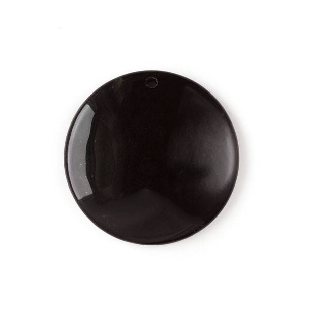Onyx 40mm Top Front to Back Drilled Coin Pendant with a Flat Back - 1 per bag