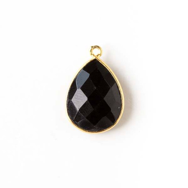 Onyx approximately 15x20mm Teardrop Drop with a Gold Plated Brass Bezel