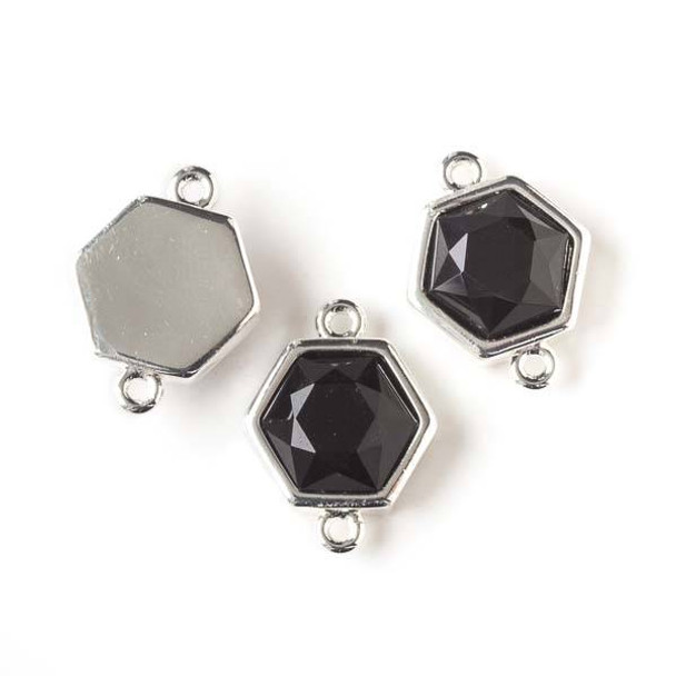 Onyx 14x18mm Hexagon Link with Silver Bezel and Loops - 1 per bag