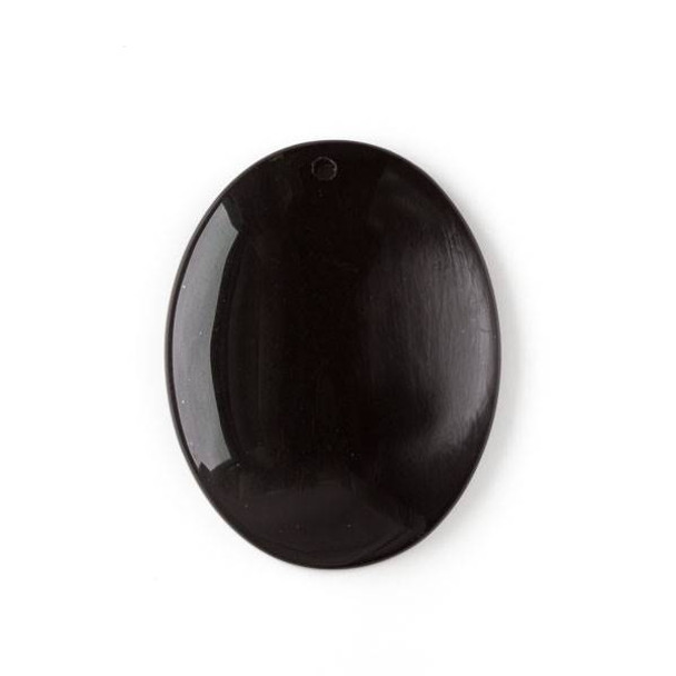 Onyx 35x45mm Top Front to Back Drilled Oval Pendant with a Flat Back - 1 per bag
