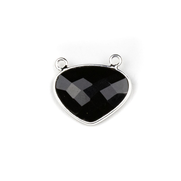 Onyx approximately 18x21mm Rounded Triangle Drop Pendant with a Silver Plated Brass Bezel - 1 per bag