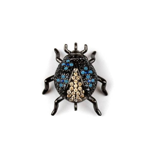 Gun Metal Plated Brass Pave 18x20mm Beetle Bug Link with Blue, Jet, and Champagne Cubic Zirconias - 1 per bag