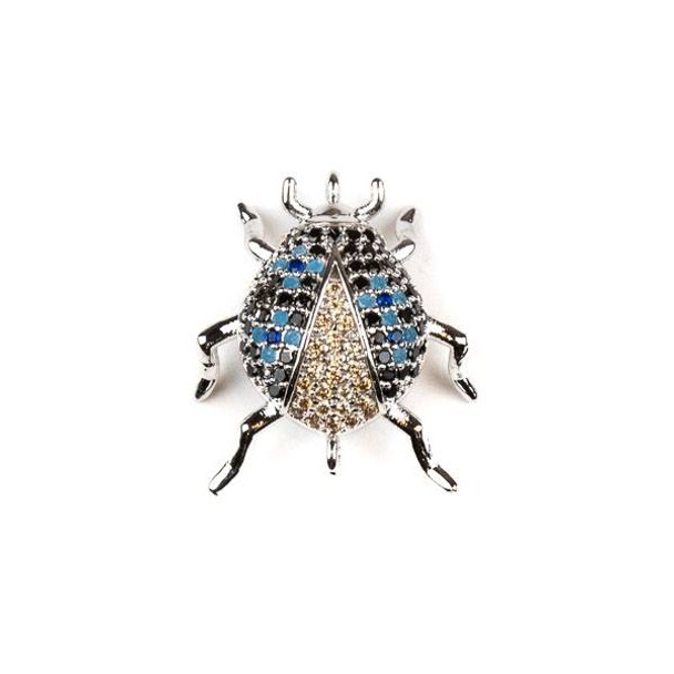 Silver Plated Brass Pave 18x20mm Beetle Bug Link with Blue, Jet, and Champagne Cubic Zirconias - 1 per bag