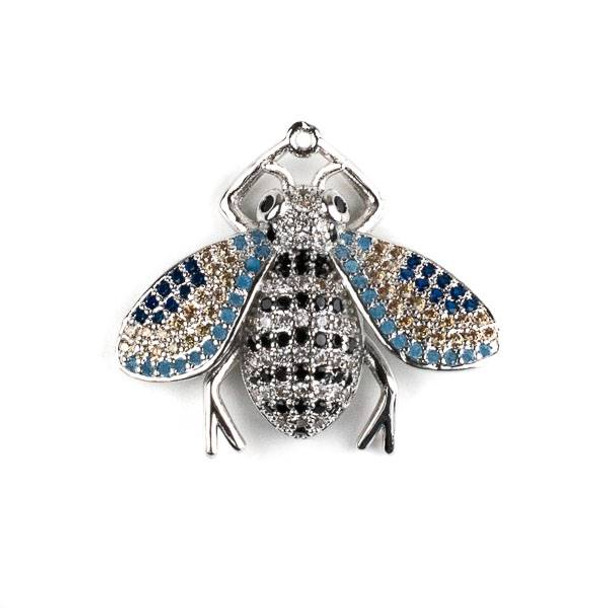 Silver Plated Brass Pave 25x28mm Flying Bug with Jet, Blue, and Clear Cubic Zirconias - 1 per bag