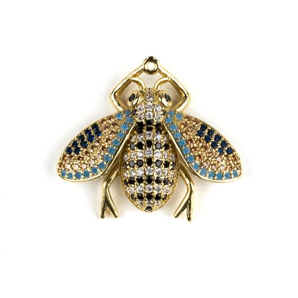 Gold Plated Brass Pave 25x28mm Flying Bug with Jet, Blue, and Clear Cubic Zirconias - 1 per bag