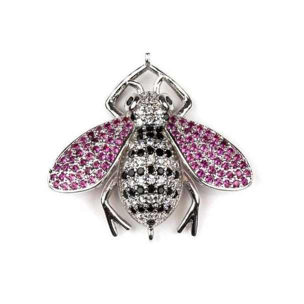 Silver Plated Brass Pave 27x29mm Flying Bug Link with Jet, Pink, and Clear Cubic Zirconias - 1 per bag