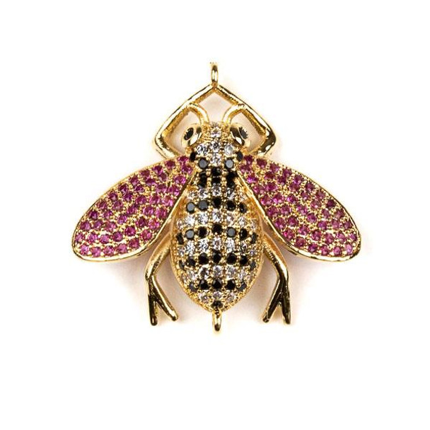Gold Plated Brass Pave 27x29mm Flying Bug Link with Jet, Pink, and Clear Cubic Zirconias - 1 per bag