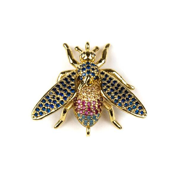 Gold Plated Brass Pave 23x27mm Flying Bug Link with Blue, Pink, and Champagne Cubic Zirconias - 1 per bag