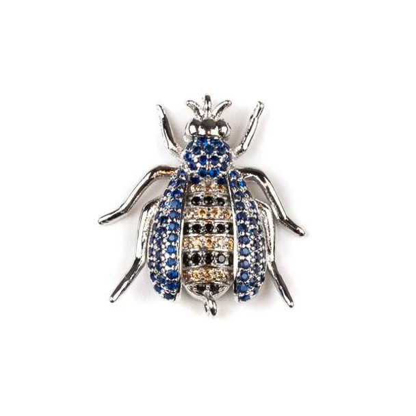 Silver Gold Plated Brass Pave 20x24mm Flying Bug Link with Blue, Jet, and Champagne Cubic Zirconias - 1 per bag