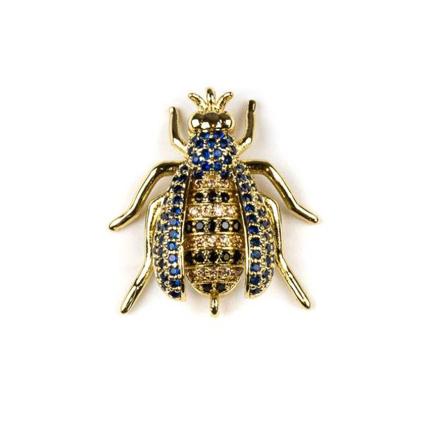 Gold Plated Brass Pave 20x24mm Flying Bug Link with Blue, Jet, and Champagne Cubic Zirconias - 1 per bag