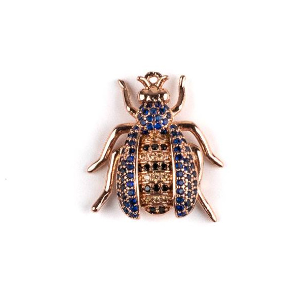 Rose Gold Plated Brass Pave 20x22mm Flying Bug with Blue, Jet, and Champagne Cubic Zirconias - 1 per bag