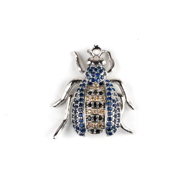 Silver Plated Brass Pave 20x22mm Flying Bug with Blue, Jet, and Champagne Cubic Zirconias - 1 per bag