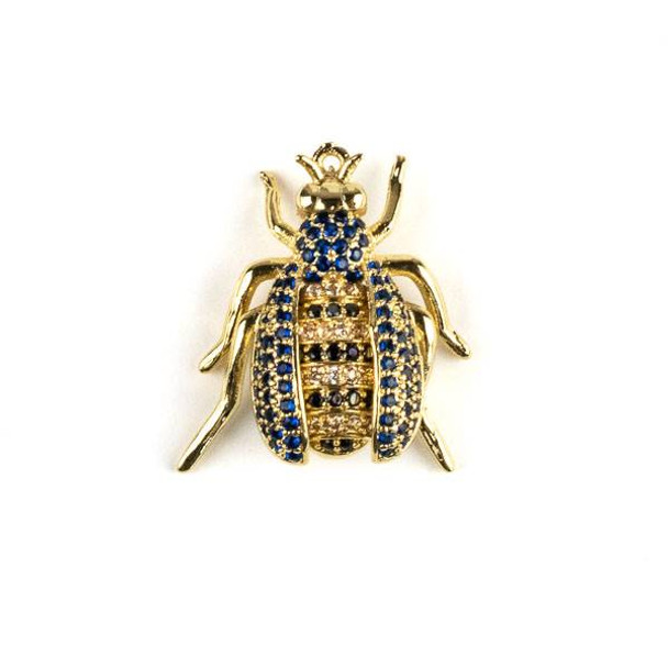 Gold Plated Brass Pave 20x22mm Flying Bug with Blue, Jet, and Champagne Cubic Zirconias - 1 per bag