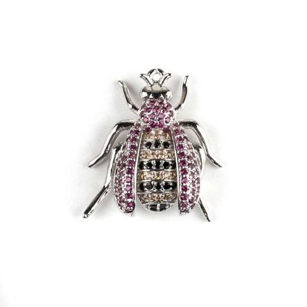 Silver Plated Brass Pave 20x22mm Flying Bug with Pink, Jet, and Champagne Cubic Zirconias - 1 per bag
