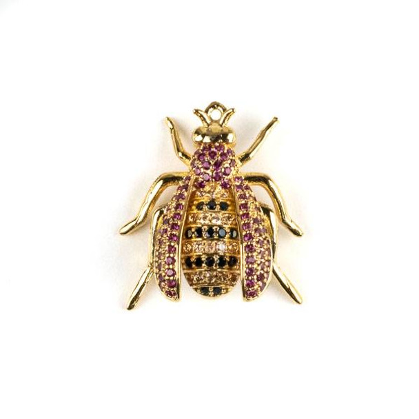 Gold Plated Brass Pave 20x22mm Flying Bug with Pink, Jet, and Champagne Cubic Zirconias - 1 per bag