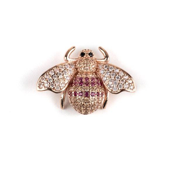 Rose Gold Plated Brass Pave 18x25mm Flying Bug with Pink, Champagne, and Clear Cubic Zirconias - 1 per bag