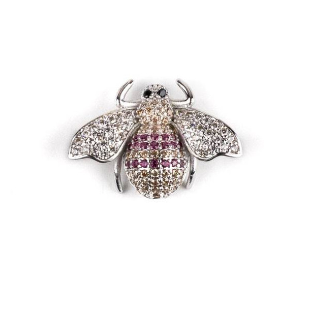 Silver Plated Brass Pave 18x25mm Flying Bug with Pink, Champagne, and Clear Cubic Zirconias - 1 per bag