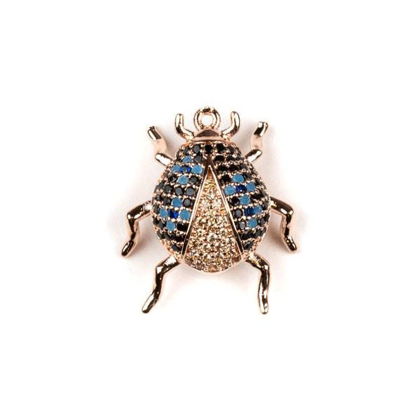 Rose Gold Plated Brass Pave 18x20mm Beetle Bug with Blue, Jet, and Champagne Cubic Zirconias - 1 per bag