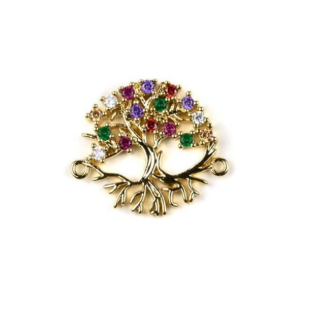 Gold Plated Brass Pave 20x24mm Tree Link with Multicolor Cubic Zirconias - 1 per bag