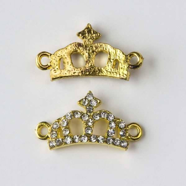Pave 12x23mm Gold Convex Crown Link with Crystals