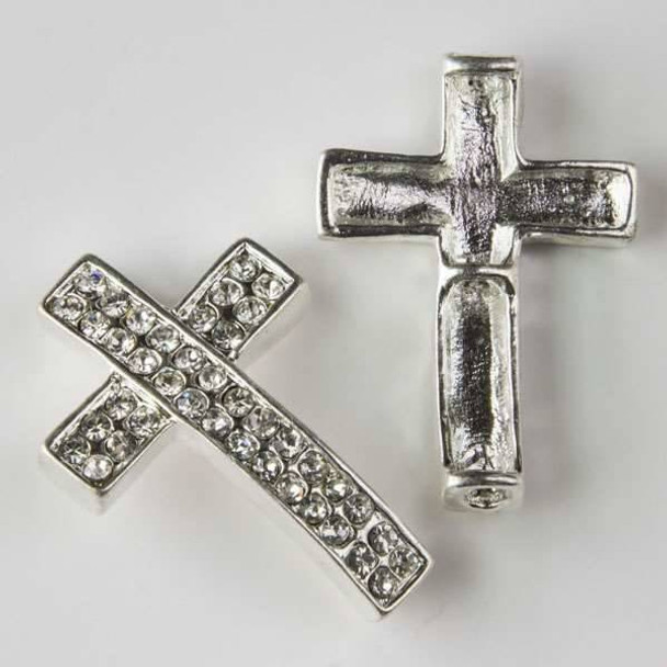 Pave 24x35mm Silver Convex Cross with Crystals