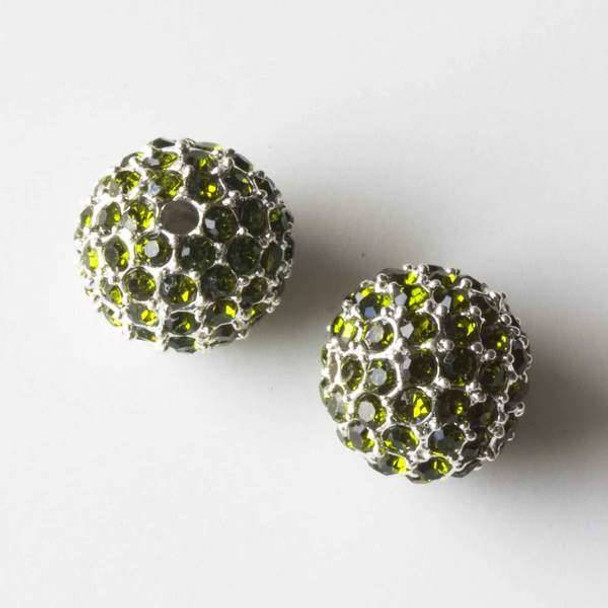 12mm Silver Pave Bead with Green Peridot Crystals
