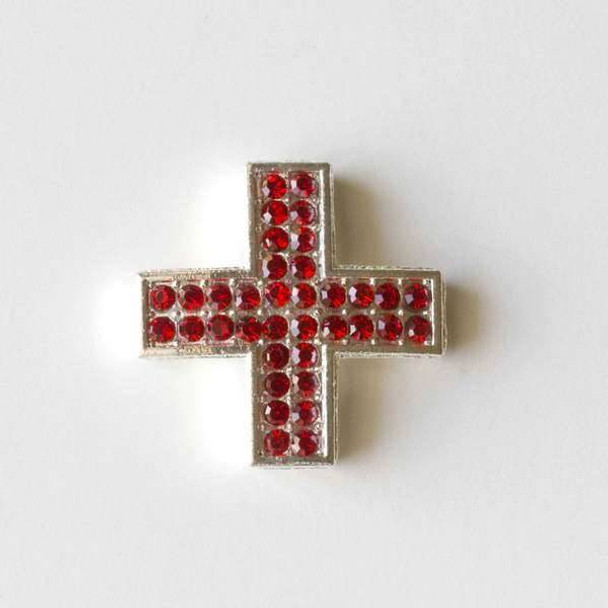 Pave 25mm Silver Square Cross with Light Siam Red Crystals
