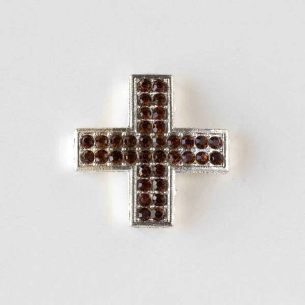 Pave 25mm Silver Square Cross with Topaz Crystals
