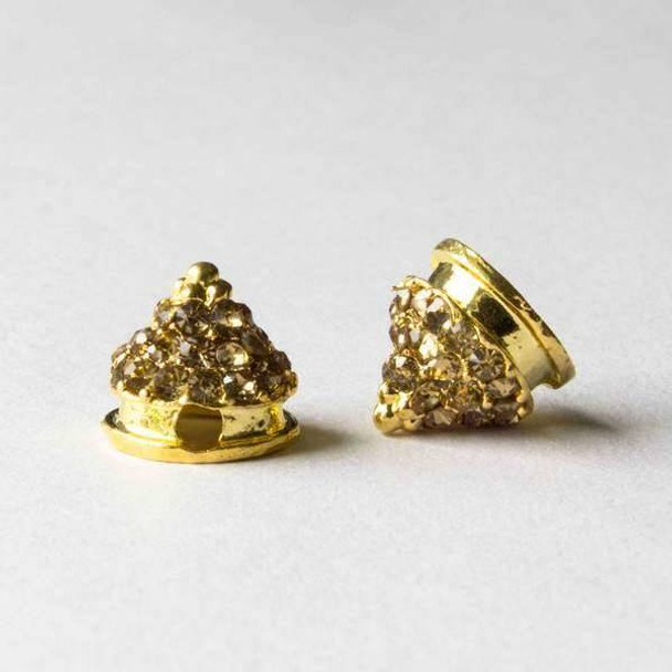 Pave 10mm Base Metal Gold Cone Spike with Champagne Crystals