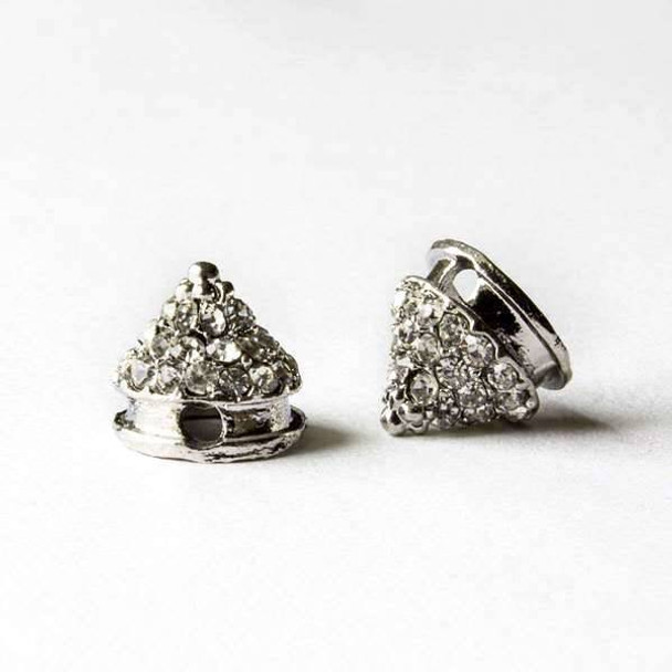 Pave 10mm Base Metal Silver Cone Spike with Crystals