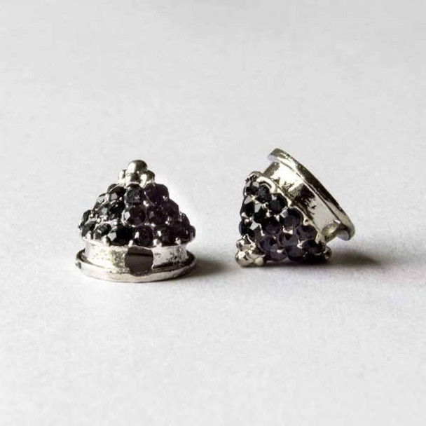 Pave 10mm Base Metal Silver Cone Spike with Jet Crystals