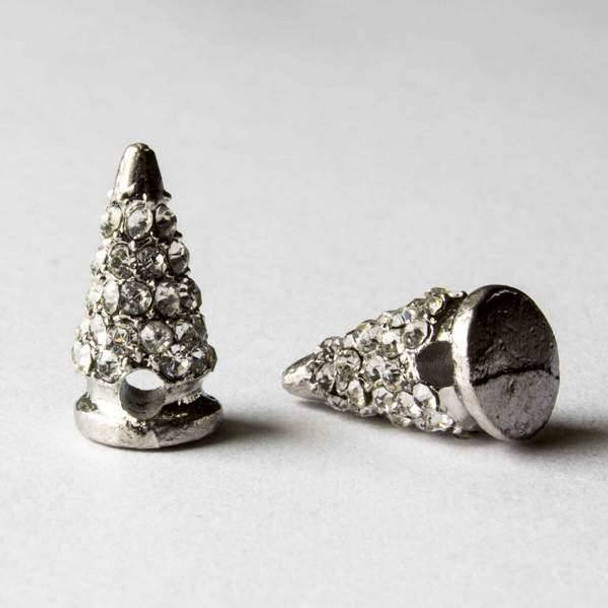 Pave 9x16mm Base Metal Silver Cone Spike with Crystals