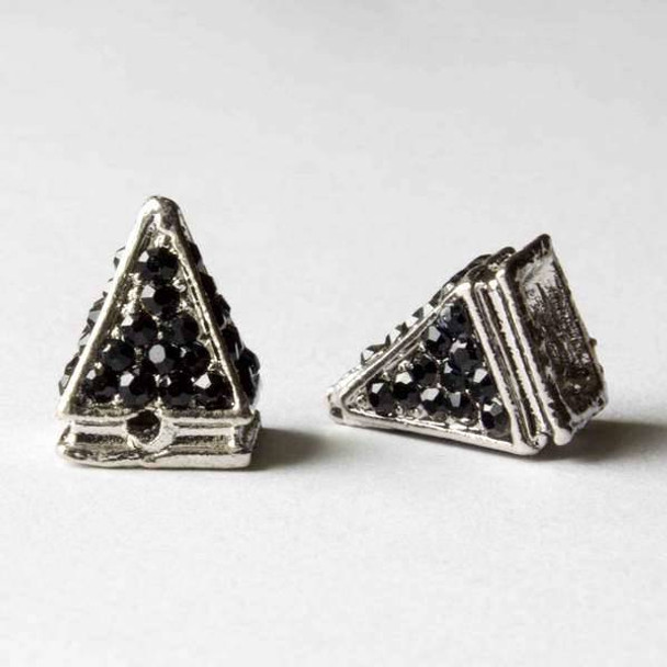 Pave 10x14mm Base Metal Silver Pyramid Spike with Jet Crystals