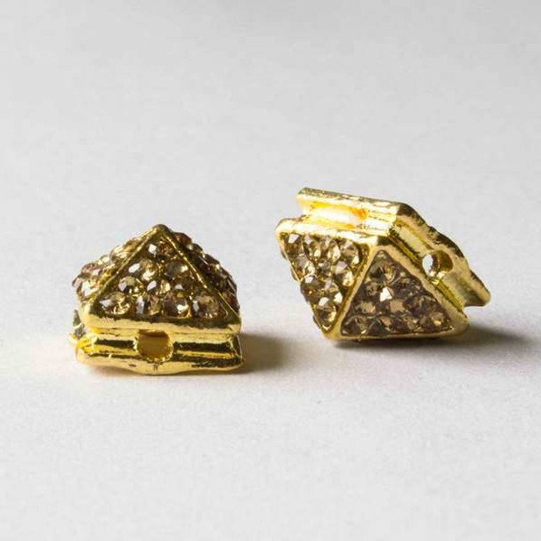 Pave 8x12mm Base Metal Gold Pyramid Spike with Champagne Crystals